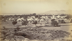 Camp at Rupar with the River Sutlej and Siwalik Hills in the distance [opening of the Sirhind Canal]